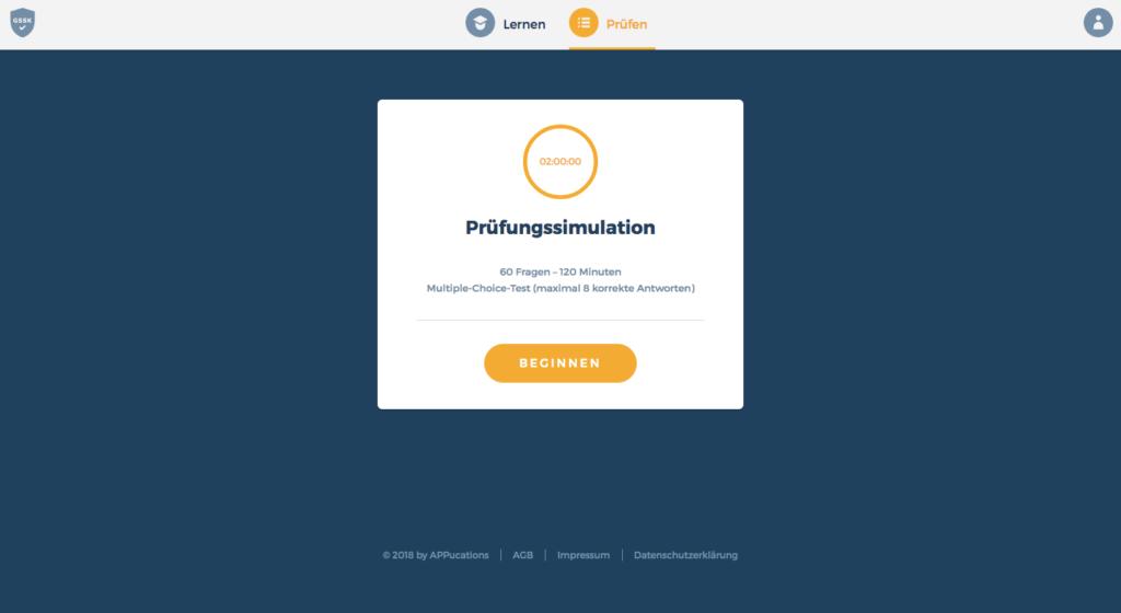 GSSK Pruefen - Pruefungssimulation